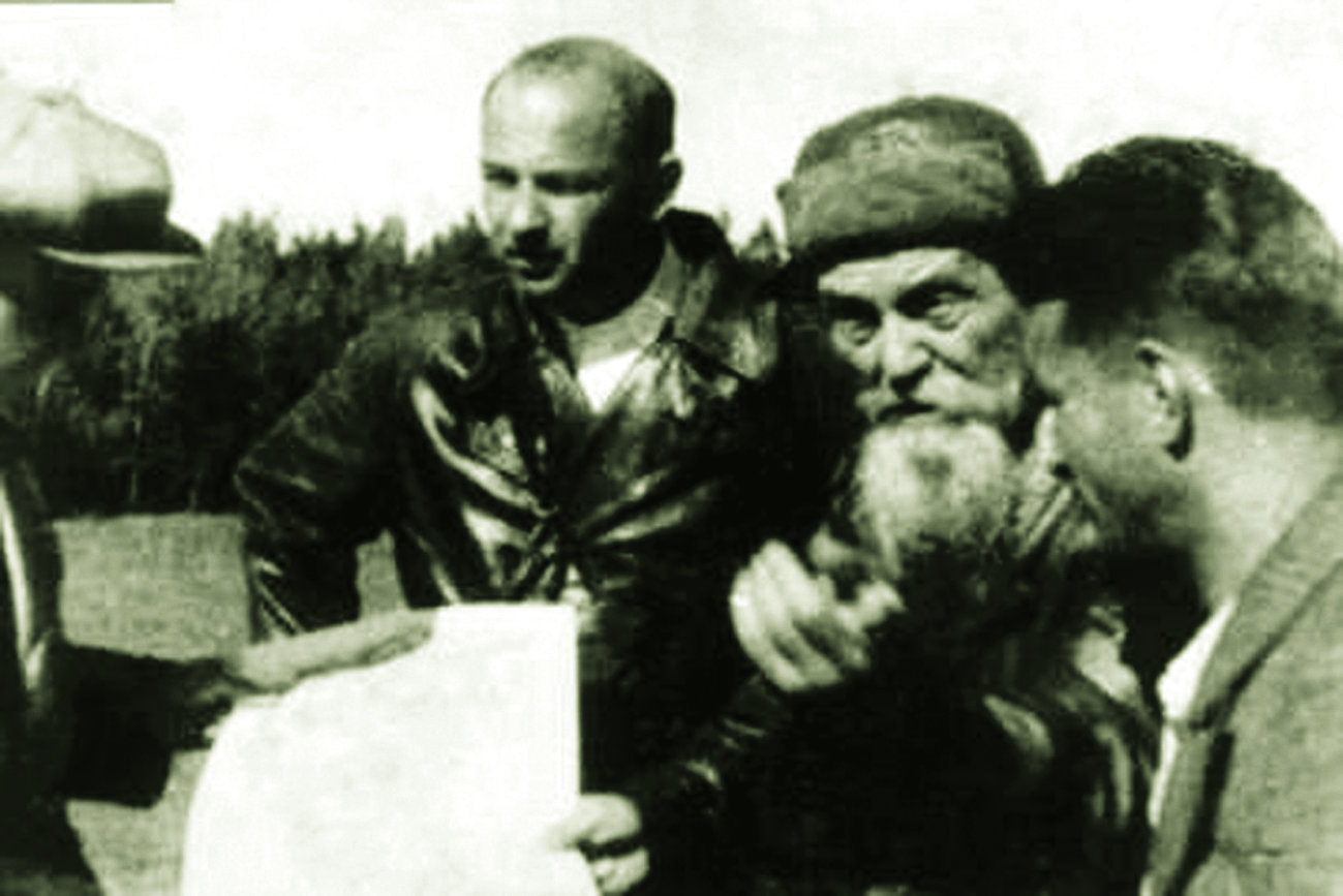 Selecting a site for subpermafrost water exploration in the vicinity of Yakutsk, 1941, (l to r) P.I. Melnikov, V.K. Yanovsky and M.I. Sumgin.